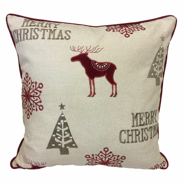Norco Merry Christmas Poly Linen Embroidered Velvet Throw Pillow by Loon Peak