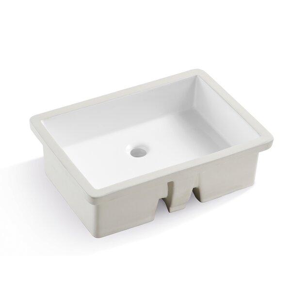 White Ceramic Rectangular Undermount Bathroom Sink
