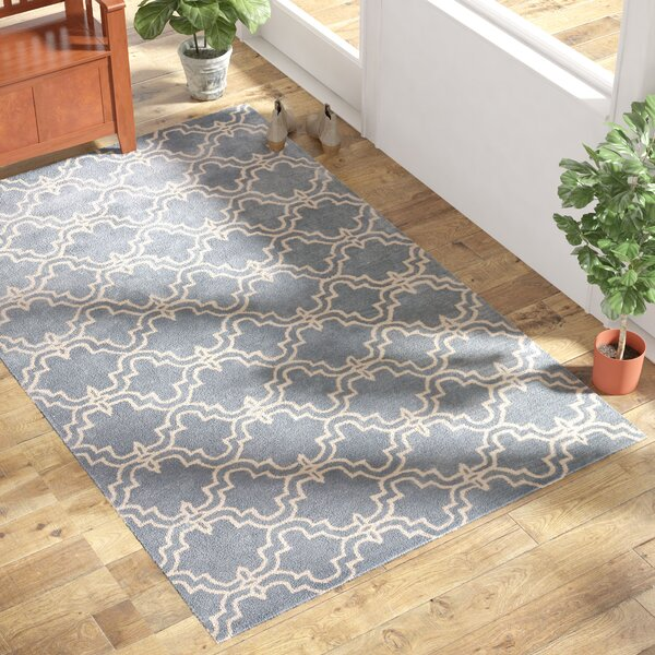 Trellis Wool Hand-Tufted Blue Area Rug by Birch Lane™
