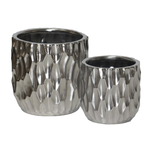 Valorie Cylindrical Design Body Pot Planter (Set of 2) by Ivy Bronx