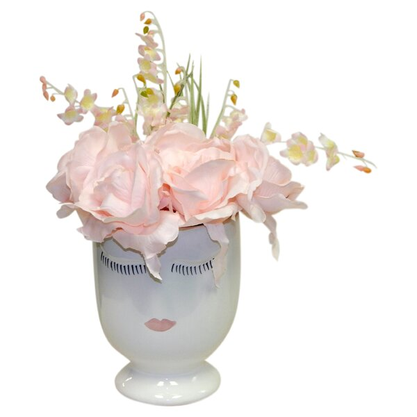 Rose Floral Arrangement in Pot by House of Hampton