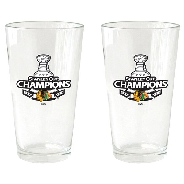 NHL 2010 Stanley Champs - Pint Glass Cup (2 Pack) - Chicago Blackhawks by Boelter Brands