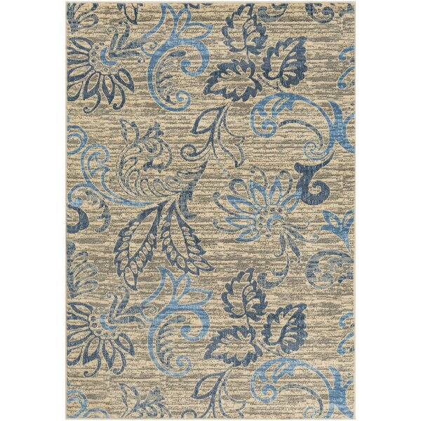 Herschel Distressed Floral Denim/Sky Blue Area Rug by Winston Porter