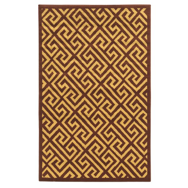 Allicia Brown/Beige Greek Key Rug by Orren Ellis
