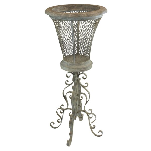 Casita de Flores Basketweave Metal Plant Stand by Design Toscano