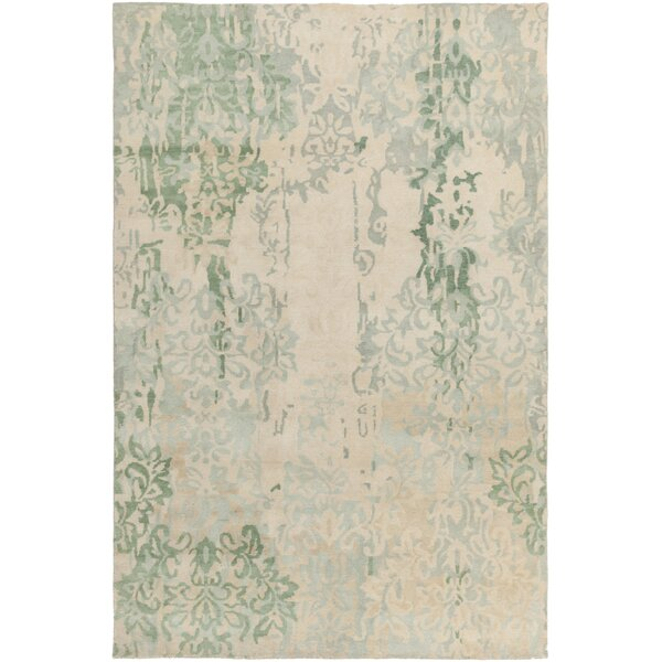 Montfort Hand-Hooked Green/Beige Area Rug by Bungalow Rose