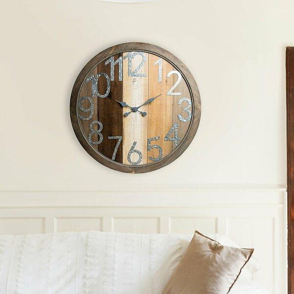 Oversized Avicia Rustic Wood Shiplap 36 Wall Clock by Gracie Oaks