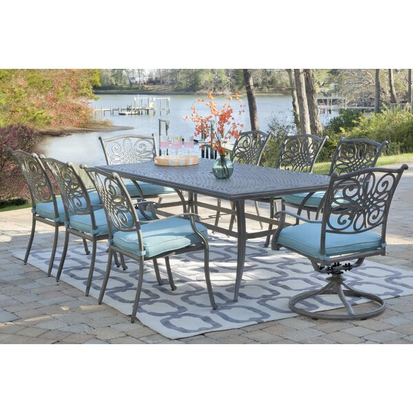 Yorba 9 Piece Dining Set with Cushion by Charlton Home