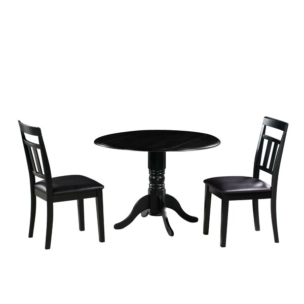Raymond 3 Piece Drop Leaf Solid Wood Dining Set by Millwood Pines Millwood Pines