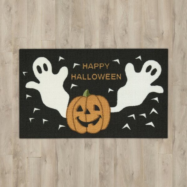 Ghost & Pumpkins Black Area Rug by The Holiday Aisle