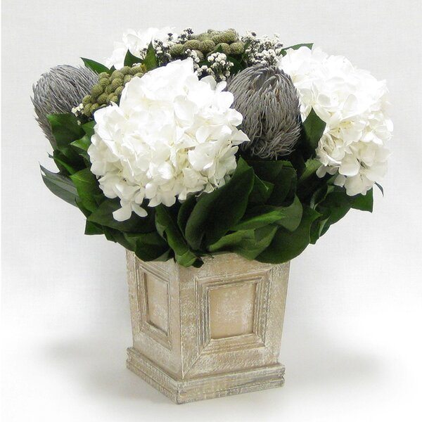 Mixed Floral Centerpiece in Wooden Mini Square Planter with Inset Natural by One Allium Way