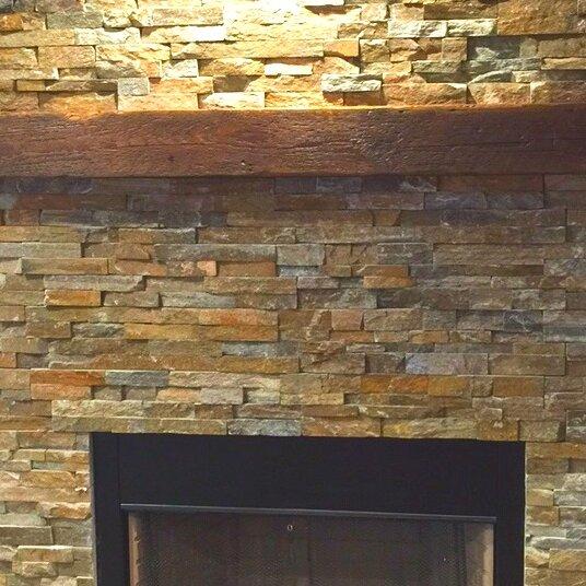 Reclaimed Barn Beam Fireplace Mantel Shelf by Creative Hardwoods