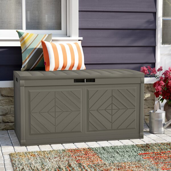Outdoor Baywood Stoney 80 Gallon Resin Plastic Deck Box by Suncast Suncast
