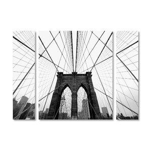 'NYC Brooklyn Bridge' by Nina Papiorek 3 Piece Photographic Print on Wrapped Canvas Set by Trademark Fine Art