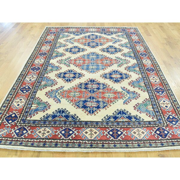 One-of-a-Kind Berner Kazak TribalGeometric Design Handwoven Ivory Wool Area Rug by Isabelline