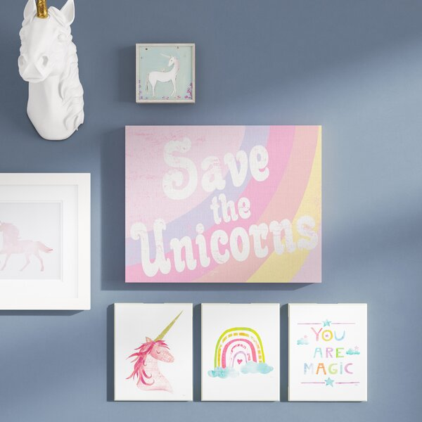Faulk Save The Unicorns Canvas Art by Harriet Bee