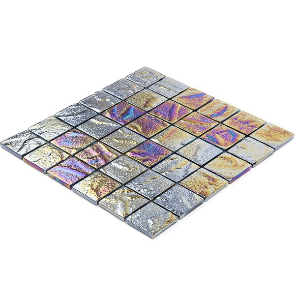 Marina 2 x 2 Glass Mosaic Tile in Silver by Splashback Tile