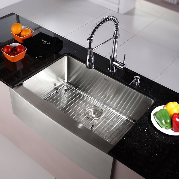 Kitchen Combos 30 L x 20 W Single Basin Farmhouse/Apron Kitchen Sink with Faucet and Dispenser by Kraus