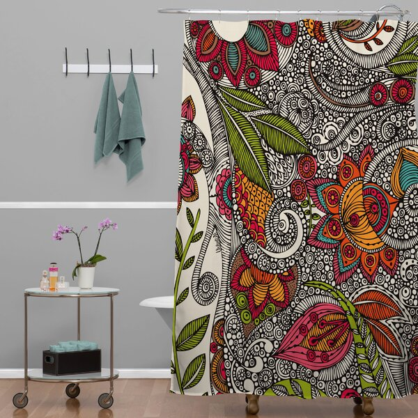 Renfro Random Flowers Shower Curtain by Bungalow Rose