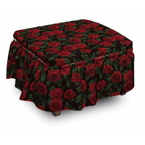 Rose Retro Petals Leaves Growth 2 Piece Box Cushion Ottoman Slipcover Set By East Urban Home