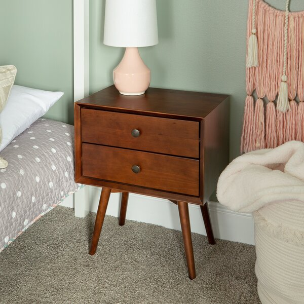 Gerow Mid-Century 2 Drawer Nightstand by George Oliver