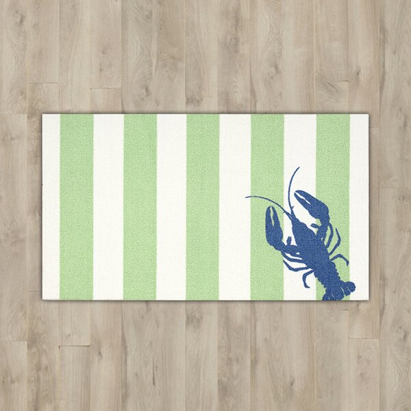 Orton Lobster Green/White Area Rug by Breakwater Bay