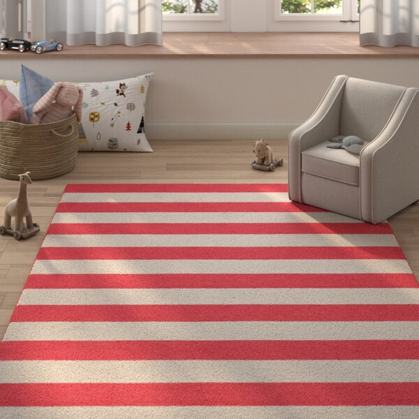 Crivello Stripe Hand-Tufted Wool Silver/Red Area Rug by Harriet Bee