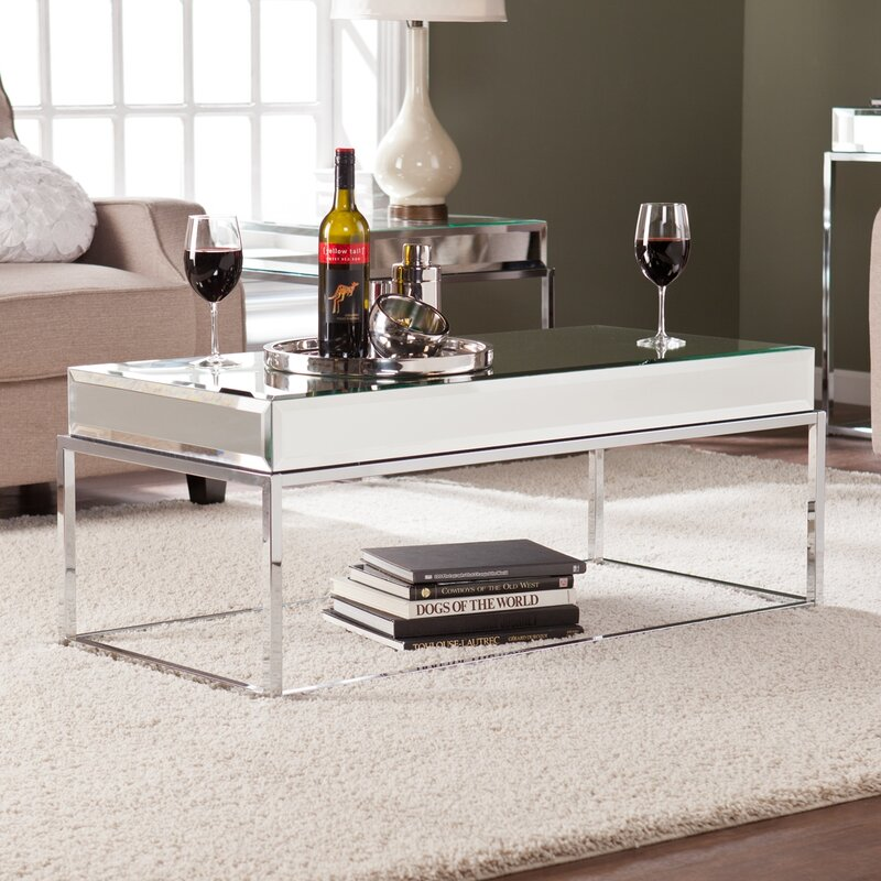 mirrored coffee tables Mirrored Coffee Tables to Upgrade Your Living Space Kyla Mirrored Coffee Table
