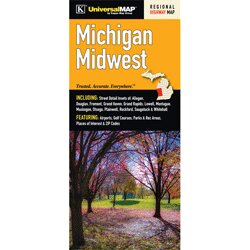 Michigan Midwest Regional Fold Map by Universal Map