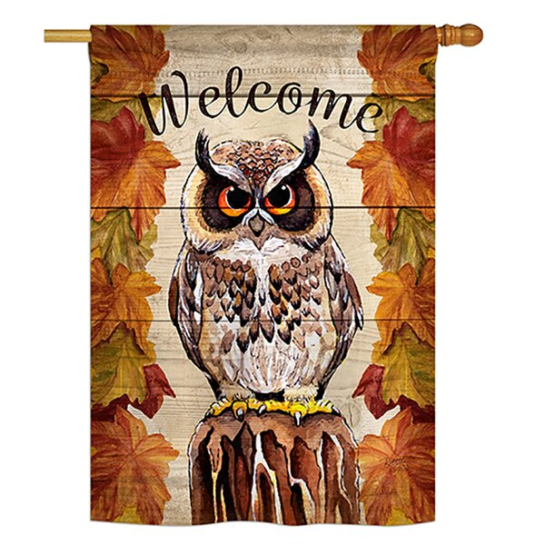 Owl Watching Birds Impressions 2-Sided Polyester 3.3 x 2.3 ft. Flag by Breeze Decor