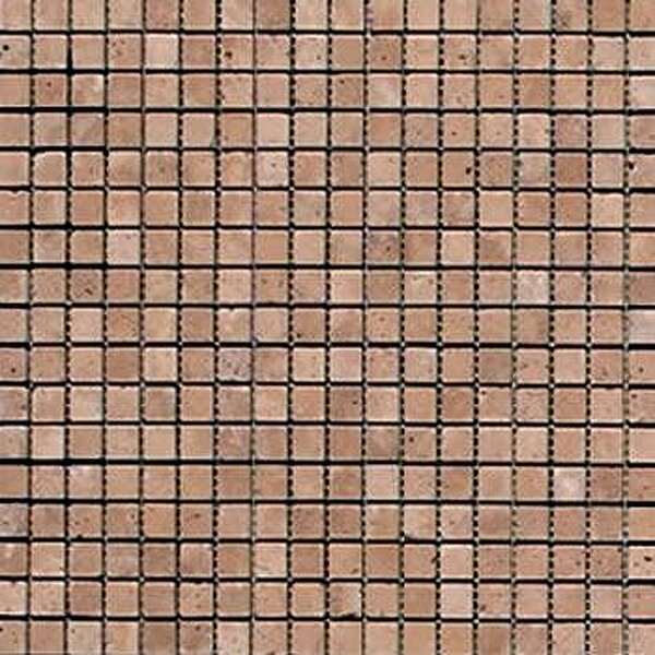 Noce 0.625'' x 0.625'' Travertine Mosaic Tile in Brown by Epoch Architectural Surfaces