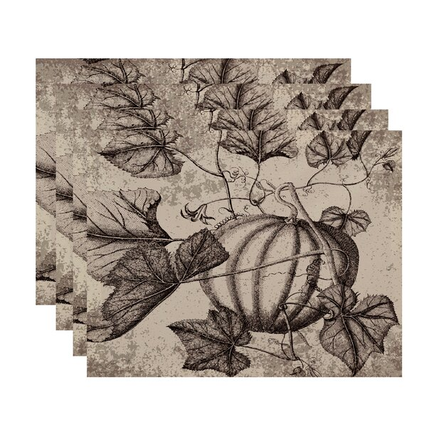 Miller Hand Towel Antique Pumpkin Floral Print Placemat (Set of 4) by Alcott Hill