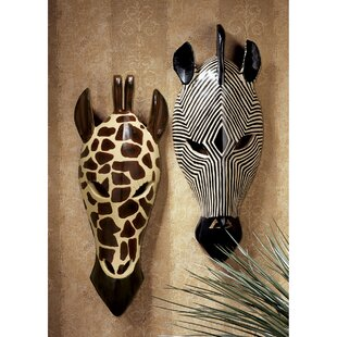 Tribal Style Animal Wall Décor Set Of 2