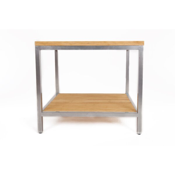 Betances Steel Framed Bamboo Rectangular Side Table by Latitude Run