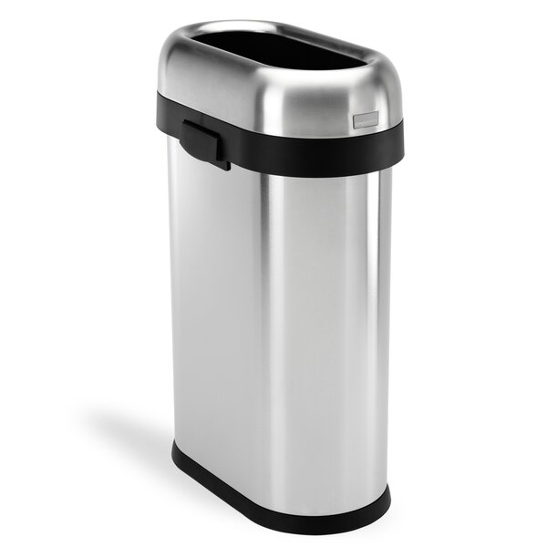 13 Gallon Slim Open Trash Can, Heavy-Gauge Brushed Stainless Steel by simplehuman