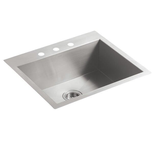 Vault 25 L x 22 W x 9.31 Top-Mount/Undermount Medium Single Bowl Kitchen Sink with 3 Faucet Holes by Kohler
