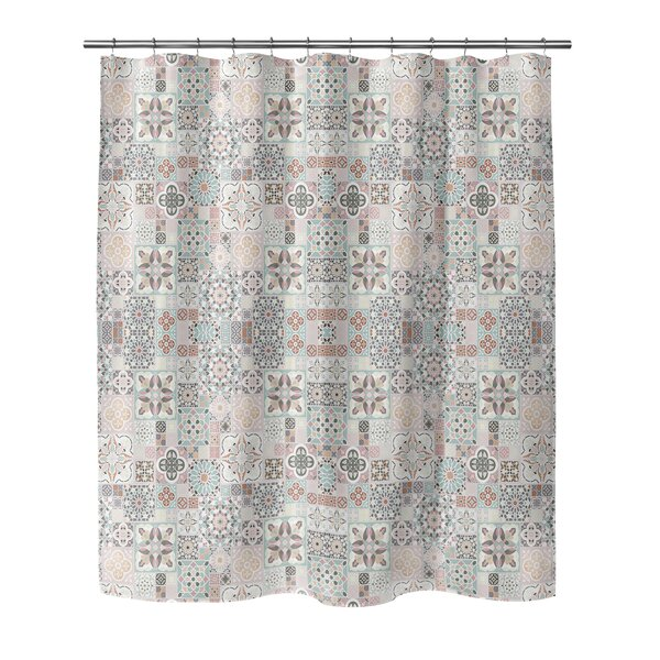 Chrisman Tiles with Rose Gold Shower Curtain by Bungalow Rose