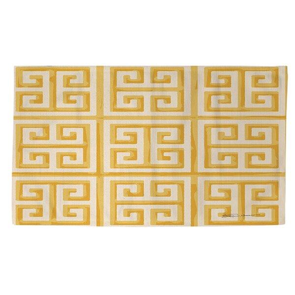 Greek Key II Yellow Geometric Area Rug by Manual Woodworkers & Weavers