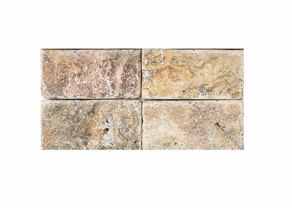 Scabos Tumbled 3 x 6 Travertine Field Tile in Brown by Parvatile