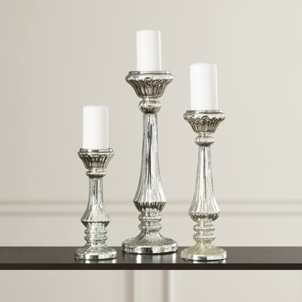 Beautiful Styled 3 Piece Glass Candlestick Set by