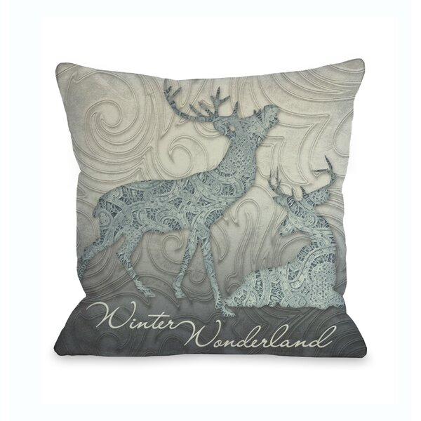 Winter Wonderland Reindeer Throw Pillow by One Bella Casa