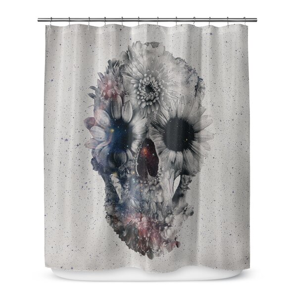 Grogg Floral Skull Shower Curtain by Ivy Bronx