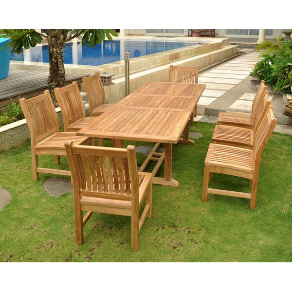 Farnam 9 Piece Teak Wood Dining Set by Rosecliff Heights