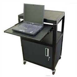AV Cart with Locking Cabinet and Pull Out Shelf by Hamilton Buhl