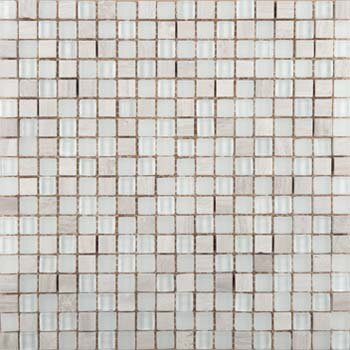 Lucente .6 x .6/12 x 12 Glass Stone Blend Mosaic Tile in Andrea by Emser Tile