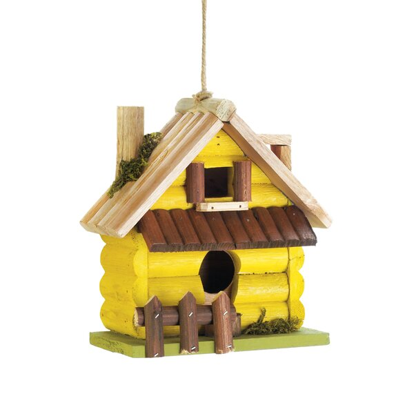 Log Home 7.5 in x 7.5 in x 4 in Birdhouse by Zingz & Thingz