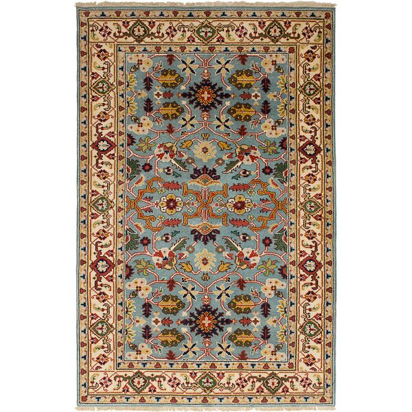 One-of-a-Kind Doerr Handmade Wool Light Blue Area Rug by Isabelline