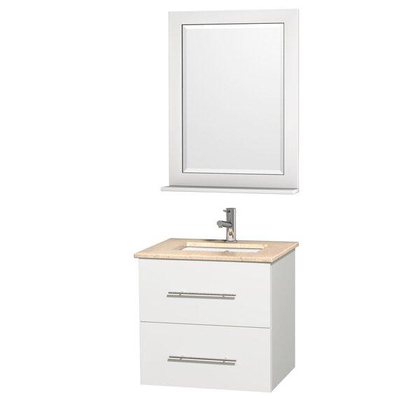 Centra 24 Single White Bathroom Vanity Set with Mirror by Wyndham CollectionCentra 24 Single White Bathroom Vanity Set with Mirror by Wyndham Collection