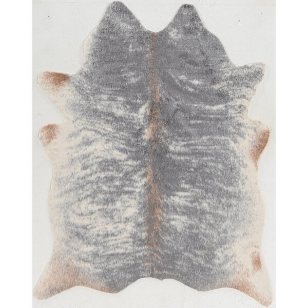Hand-Tufted Faux Cowhide Gray Area Rug by Mercury Row