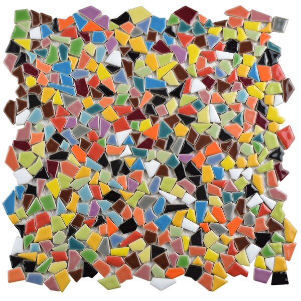Mareado Random Sized Ceramic Mosaic Tile in Red/Orange by EliteTile